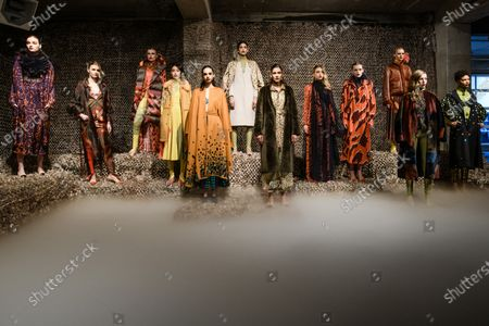Stock Image of Models present creations by Polish designer Dawid Tomaszewski during the Berlin Fashion Week, in Berlin, Germany, 15 January 2020. The Fall/Winter 2020 collections are presented at the Berlin Fashion Week from 13 to 17 January.