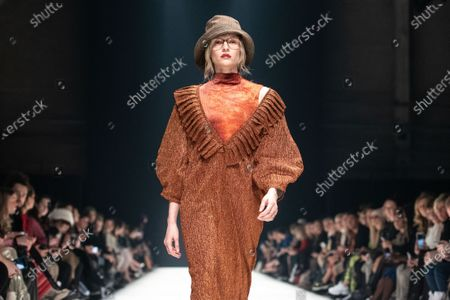 Stock Image of A model presents a creation by German designer Kilian Kerner for the label KXXK during the Mercedes-Benz Fashion Week Berlin, in Berlin, Germany, 15 January 2020. The Fall/Winter 2020 collections are presented at the MBFW Berlin from 13 to 15 January.