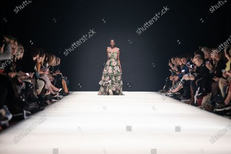 Stock Photo of A model presents a creation by German designer Kilian Kerner for the label KXXK during the Mercedes-Benz Fashion Week Berlin, in Berlin, Germany, 15 January 2020. The Fall/Winter 2020 collections are presented at the MBFW Berlin from 13 to 15 January.