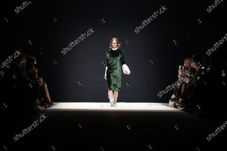 A model presents a creation by German designer Kilian Kerner for the label KXXK during the Mercedes-Benz Fashion Week Berlin, in Berlin, Germany, 15 January 2020. The Fall/Winter 2020 collections are presented at the MBFW Berlin from 13 to 15 January.