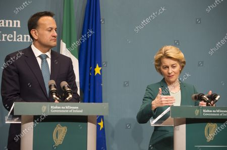 Irish prime minister An Taoiseach Leo Varadkar and EU Commission President Ursula von der Leyen at a press conference in Dublin, Ireland, 15 January 2020.