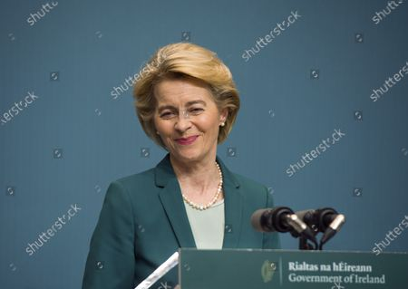 EU Commission President Ursula von der Leyen smiles during a press conference in Dublin, Ireland, 15 January 2020.