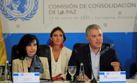President of Colombia Ivan Duque (R) with Foreign Minister of Colombia Claudia Blum (L) during the closing ceremony of the meeting of the UN Peacebuilding Commission in Cartagena, Colombia, 15 January 2020.