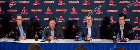 Boston Red Sox Principal Owner John Henry (L) Chairman Tom Werner (2L) President and CEO Sam Kennedy (2R) and Chief Baseball Officer Chaim Bloom (R) during a news conference regarding the sign stealing cheating scandal, at Fenway Park in Boston, Massachusetts, USA 15 January 2020.