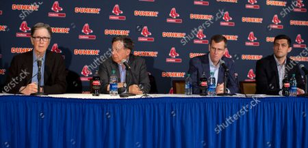 Boston Red Sox Chairman Tom Werner (2L) President and CEO Sam Kennedy (2R) and Chief Baseball Officer Chaim Bloom (R) listen as Principal Owner John Henry (L) reads a statement to the media regarding the sign stealing cheating scandal, during a news conference at Fenway Park in Boston, Massachusetts, USA 15 January 2020.