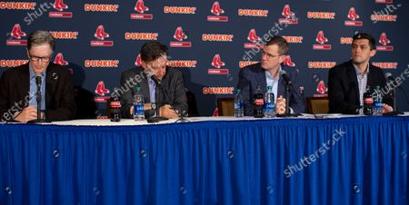 Boston Red Sox Principal Owner John Henry (L) reads a statement as Chairman Tom Werner (2L) President and CEO Sam Kennedy (2R) and Chief Baseball Officer Chaim Bloom (R) listen during a news conference regarding the sign stealing cheating scandal, at Fenway Park in Boston, Massachusetts, USA 15 January 2020.