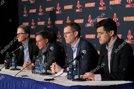 John Henry, Tom Werner, Sam Kennedy, Chaim Bloom. From left, Boston Red Sox owner John Henry, chairman Tom Werner, CEO Sam Kennedy and Chief Baseball Officer Chaim Bloom participate in a baseball news conference at Fenway Park, in Boston. The Red Sox have parted ways with manager Alex Cora, with the move coming one day after baseball Commissioner Rob Manfred named him as a ringleader with Houston in the sport's sign-stealing scandal