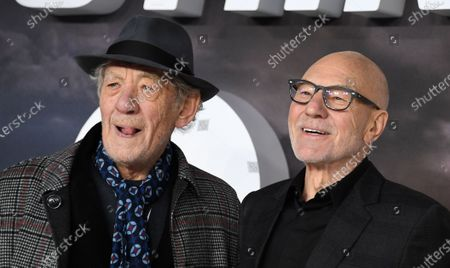 Stock Photo of Sir Patrick Stewart (R) and British actor Sir Ian McKellan  pose during the 'Star Trek: Picard' premiere at Leicester Square in London, Britain, 15 January 2020.