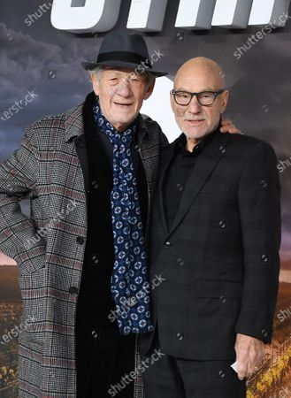 Sir Patrick Stewart (R) and British actor Sir Ian McKellan  pose during the 'Star Trek: Picard' premiere at Leicester Square in London, Britain, 15 January 2020.