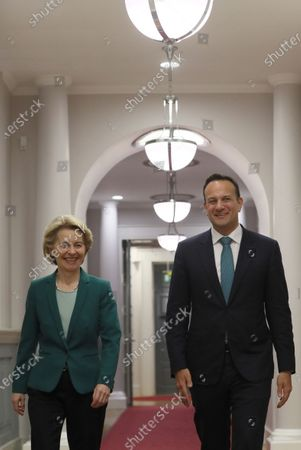 Stock Photo of European Commission President Ursula von der Leyen (L) with Taoiseach Leo Varadkar as he welcomes her to Government Buildings in Dublin, Ireland, 15 January 2020.