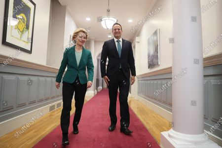 Stock Image of European Commission President Ursula von der Leyen (L) with Taoiseach Leo Varadkar as he welcomes her to Government Buildings in Dublin, Ireland, 15 January 2020.