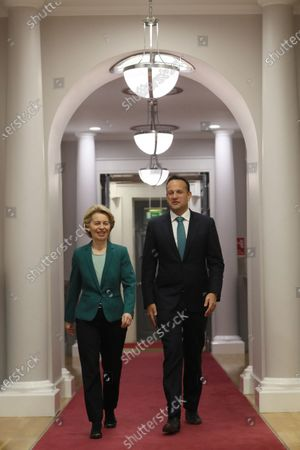 European Commission President Ursula von der Leyen (L) with Taoiseach Leo Varadkar as he welcomes her to Government Buildings in Dublin, Ireland, 15 January 2020.