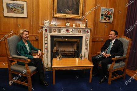 European Commission President Ursula von der Leyen (L) with Taoiseach Leo Varadkar as he welcomes her to Government Buildings, Dublin, Ireland, 15 January 2020.