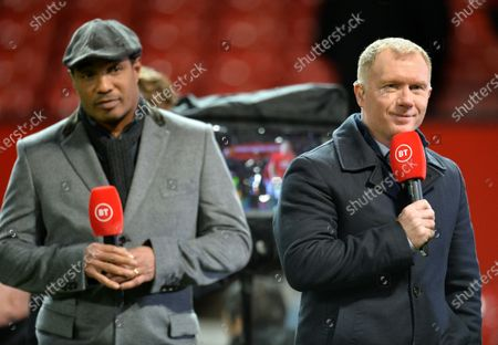 Stock Image of Former of Manchester United players Paul Ince (L) and Paul Scholes working for a Tv broadcaster during the English FA Cup 3rd round replay match between Manchester United and Wolverhampton Wanderers in Manchester, Britain, 15 January 2020.