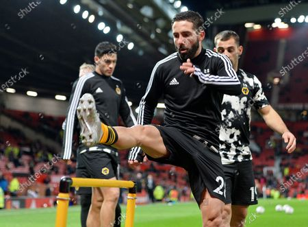 Stock Photo of Joao Moutinho of Wolverhampton warms up before the English FA Cup 3rd round replay match between Manchester United and Wolverhampton Wanderers in Manchester, Britain, 15 January 2020.