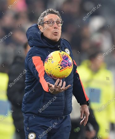 Stock Photo of Udinese's coach Luca Gotti reacts during the Italian Cup round of 16 soccer match between Juventus FC and Udinese Calcio at the Allianz Stadium in Turin, Italy, 15 January 2020.