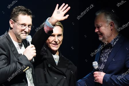 German fashion designer Wolfgang Joop (C) waves next to Label Crew CEO Jens Meyer (L) and Lizenzwerft company associate Christopher Conzen after the show 'Look by Wolfgang Joop' during the Mercedes-Benz Fashion Week Berlin, in Berlin, Germany, 15 January 2020. The Fall/Winter 2020 collections are presented at the MBFW Berlin from 13 to 15 January.