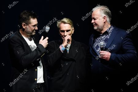 German fashion designer Wolfgang Joop (C) reacts next to Label Crew CEO Jens Meyer (L) and Lizenzwerft company associate Christopher Conzen after the show 'Look by Wolfgang Joop' during the Mercedes-Benz Fashion Week Berlin, in Berlin, Germany, 15 January 2020. The Fall/Winter 2020 collections are presented at the MBFW Berlin from 13 to 15 January.