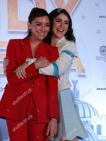 """Actresses Cassandra Sanchez Navarro, right, and Regina Blandón pose for photos during a press conference promoting the Mexican film """"Cindy la Regia"""" in Mexico City. The film premieres in Mexico on Jan. 24"""
