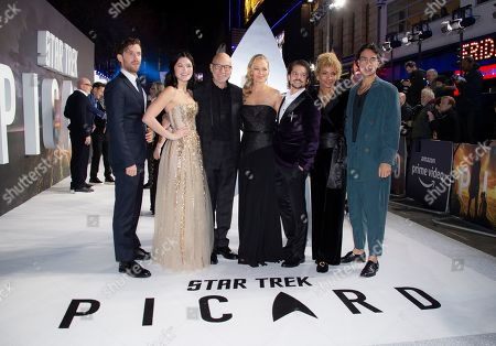 Patrick Stewart, Jeri Ryan, Jonathan Del Arco, Evan Evagora, Michelle Hurd. Actors from left, Harry Treadaway, Isa Briones, Sir Patrick Stewart, Jeri Ryan, Jonathan Del Arco, Michelle Hurd and Evan Evagora pose for photographers upon arrival at the premiere for 'Star Trek: Picard' in London