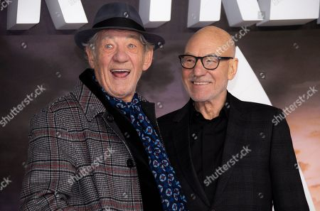 Patrick Stewart, Ian Mckellen. Actors Sir Ian Mckellen and Sir Patrick Stewart, right, pose for photographers upon arrival at the premiere for 'Star Trek: Picard' in London