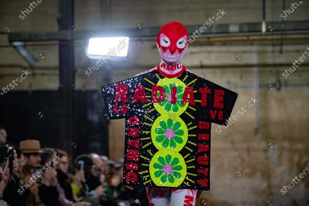 A model presents creations from the Fall/ Winter 2020/2021 Ready to Wear collection by Belgian designer Walter Van Beirendonck for Walter Van Beirendonck fashion house during the Paris Fashion Week, in Paris, France, 15 January 2020. The presentation of the men's collections runs from 14 to 19 January.