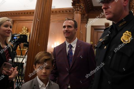 Stock Image of New Orleans Saints quarterback Drew Brees visits Capitol Hill in Washington, . Brees spoke at a Congressional Gold Medal ceremony for former NFL player Steve Gleason