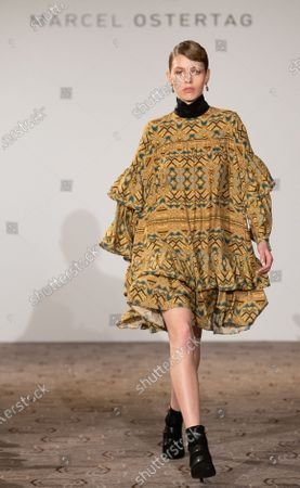 A model presents creation by designer Marcel Ostertag during the Berlin Fashion Week, in Berlin, Germany, 15 January 2020. The Fall/Winter 2020 collections are presented at the Berlin Fashion Week from 13 to 17 January.