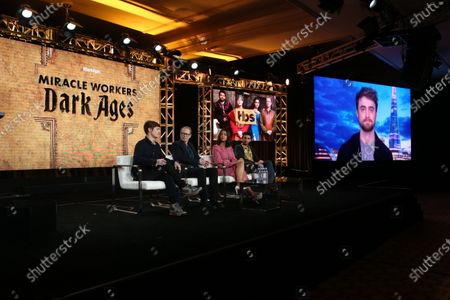 Simon Rich, Steve Buscemi, Geraldine Viswanathan and Karan Soni with Daniel Radcliffe on screen