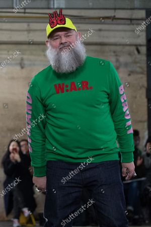 Belgian designer Walter Van Beirendonck takes part to the audience after his show during the Paris Fashion Week, in Paris, France, 15 January 2020. The presentation of the men's collections runs from 14 to 19 January.