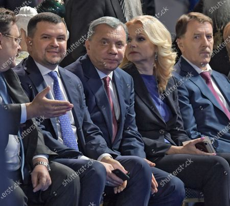 Stock Photo of From left: Deputy Chairman of the Government of Russia - Head of the Office of the Government of Russia Konstantin Chuychenko, Deputy Prime Ministers of Russia Maxim Akimov, Yuri Borisov, Tatyana Golikova and Alexey Gordeev before the speech of the Russian President.