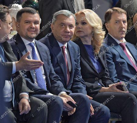 From left: Deputy Chairman of the Government of Russia - Head of the Office of the Government of Russia Konstantin Chuychenko, Deputy Prime Ministers of Russia Maxim Akimov, Yuri Borisov, Tatyana Golikova and Alexey Gordeev before the speech of the Russian President.