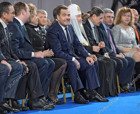 From left: Deputy Chairman of the Federation Council of Russia Nikolay Fedorov, Chief of Staff of the Presidential Executive Office Anton Vaino, Chairman of the Federation Council Valentina Matviyenko, Prime Minister of Russia Dmitry Medvedev, Chairman of the State Duma of Russia Vyacheslav Volodin, Patriarch of Moscow and All Russia Kirill, First Deputy Chairmen of the Russian State Duma Alexander Zhukov, Ivan Melnikov, and Deputy Chairman of the Russian State Duma Olga Yepifanova before the speech of the Russian President.