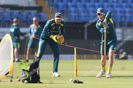 Australia's Peter Handscomb bats during a practice session ahead of the second one-day international cricket match between India and Australia in Rajkot, India