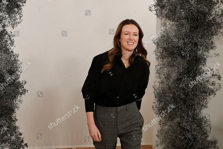 Stock Picture of British fashion designer Clare Waight Keller acknowledges applauds after the presentation of Givenchy Mens Fall/Winter 2019-2020 fashion collection, in Paris