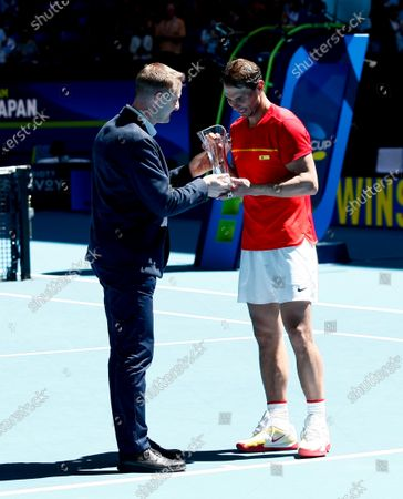 Spain v Japan - Rafael Nadal of Spain receiving the Stefan Edberg Sportsmanship Award from Miro Bratove vice president of rules and competitions for the ATP