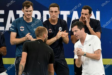 Great Britain v Australia - Tim Henman and Jamie Murray cheer on Daniel Evans of Great Britain