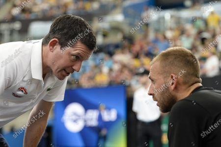 Great Britain v Australia - Tim Henman captain of Great Britain gives advice to Daniel Evans of Great Britain