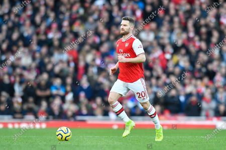 18th January 2020, Emirates Stadium, London, England; Premier League, Arsenal v Sheffield United : Shkodran Mustafi (20) of Arsenal with the ball at his feet