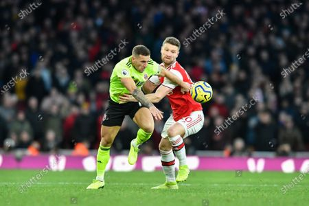 18th January 2020, Emirates Stadium, London, England; Premier League, Arsenal v Sheffield United : Billy Sharp (10) of Sheffield United challenges Shkodran Mustafi (20) of Arsenal for the ball