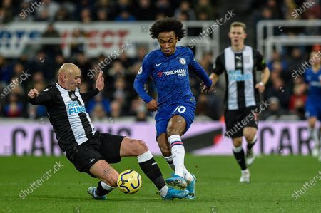 18th January 2020, St. James's Park, Newcastle, England; Premier League, Newcastle United v Chelsea : Willian (10) of Chelsea is tackled by Jonjo Shelvey (8) of Newcastle United