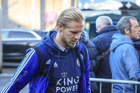 Stock Image of 19th January 2020, Turf Moor, Burnley, England; Premier League, Burnley v Leicester City : Kasper Schmeichel (1) of Leicester City arrives at Turf Moor Credit: Mark Cosgrove/News Images