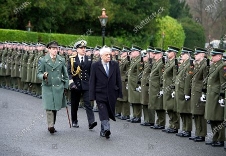 Greek President Prokopis Pavlopoulos (R) inspects the Guards of Honor during a welcome ceremony at the President's Residence in Dublin, Ireland, 16 January 2020. The Greek president is on a state visit to Ireland.