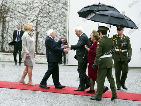 Irish President Michael D. Higgins (2-L) and Irish First lady Sabina Higgins (L) welcome Greek President Prokopis Pavlopoulos (C) and his wife Vlassia Pavlopoulou-Peltsemi (C-R) at the President's Residence in Dublin, Ireland, 16 January 2020. The Greek president is on a state visit to Ireland.