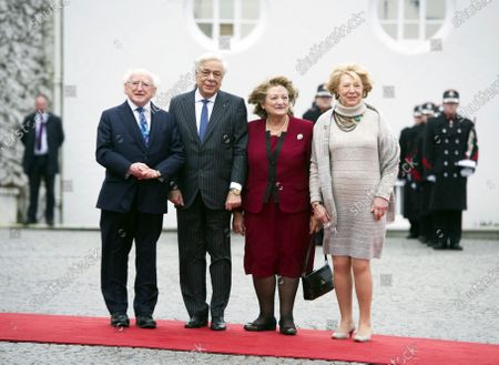 Irish President Michael D. Higgins (L) and Irish First lady Sabina Higgins (R) welcome Greek President Prokopis Pavlopoulos (2-L) and his wife Vlassia Pavlopoulou-Peltsemi (2-R) at the President's Residence in Dublin, Ireland, 16 January 2020. The Greek president is on a state visit to Ireland.