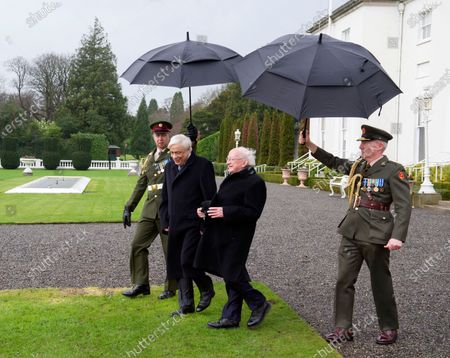 Greek President Prokopis Pavlopoulos (C-L) and Irish President Michael D. Higgins (C-R) plant a tree at the President's Residence in Dublin, Ireland, 16 January 2020. The Greek president is on a state visit to Ireland.