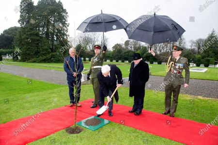 Greek President Prokopis Pavlopoulos (C-L) and Irish President Michael Higgins (C-R) plant a tree at the President's Residence in Dublin, Ireland, 16 January 2020. The Greek president is on a state visit to Ireland.