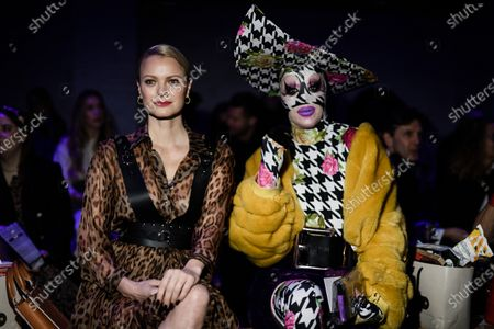 German model Franziska Knuppe (L) and designer Thomas Hanisch attend the show of Austrian fashion designer Marina Hoermanseder during the Berlin Fashion Week in Berlin, Germany, 16 January 2020. The Autumn/Winter 2020 collections are presented at the Berlin Fashion Week from 13 to 17 January.