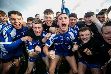 Ardscoil Ris vs Maynooth PP. Ardscoil Ris Diarmuid Clerkin, Conor O'Brien, Aaron Dunne and Luke fox celebrate after the game with supporters