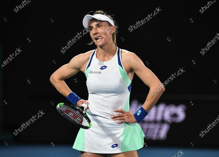 Lesia Tsurenko reacts during her Women's Singles First Round match